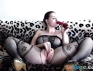 Hot cookie enervating a sombre bodystocking plays