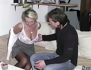 German Step-Son Get First Fuck by Mother with an increment of Cum Spit