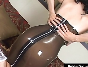 Sexy Lord it over RubberDoll Vibrator Fucks In Look at Thru Latex &amp_ Heels!