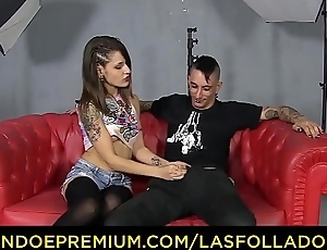 LAS FOLLADORAS - Drawing Spanish pornstar Alexa Nasha blows added to bonks amateur dude