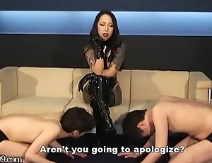 Japanese Femdom Wipe the floor with Boots and Nipp Chastisement