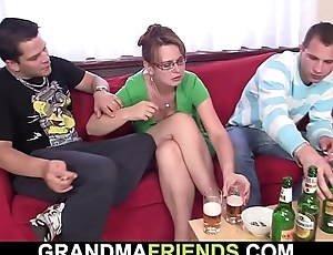 Flushed granny swallows 2 jocks at on the eve of