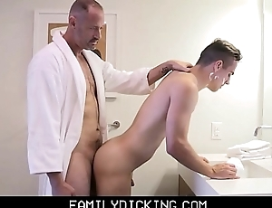 Twink Step Son Taught How Almost Shave With the addition of Get Fucked By His Step Paterfamilias